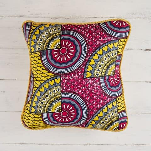 Pillow Cover African Print - Pink Yellow Sunshine
