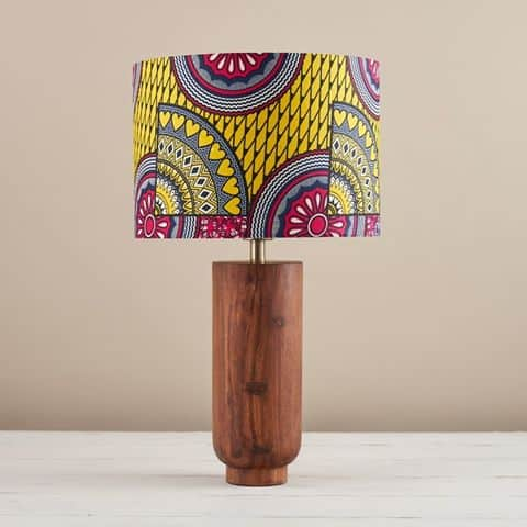 African Wax Print Lampshade - Pink Yellow Sunshine