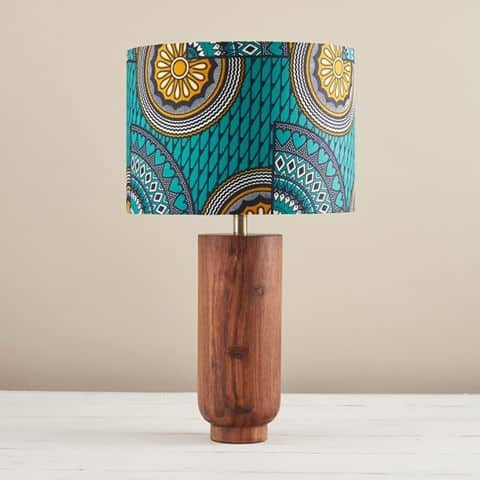 African Wax Print Lampshade - Turquoise Sunshine