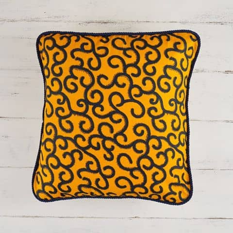 Pillow Cover African Print - Orange Swirls
