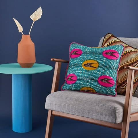 Pillow Cover African Print - Turquoise speed bird