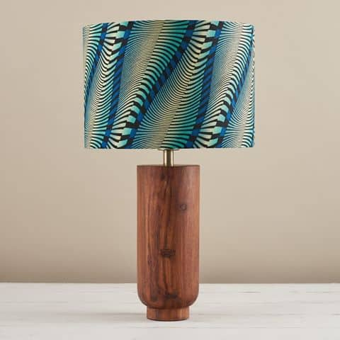 African Wax Print Lampshade - Wavy Blue