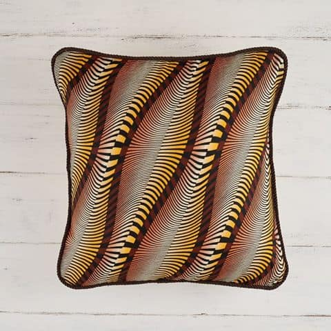 Pillow Cover African Print - Wavy Coffee