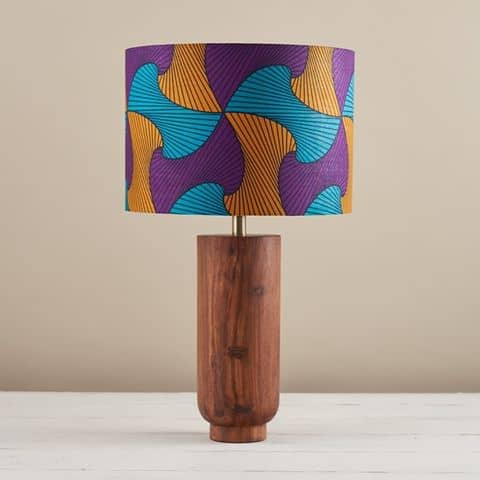African Wax Print Lampshade - Wavy Purple