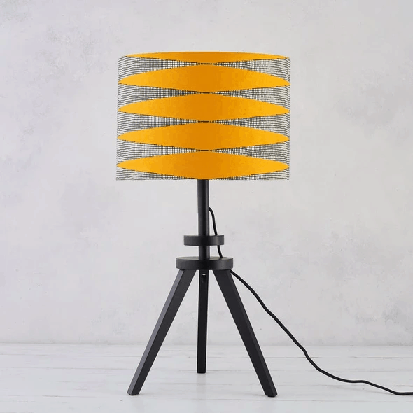 African Wax Print Lampshade - Yellow White Zigzag