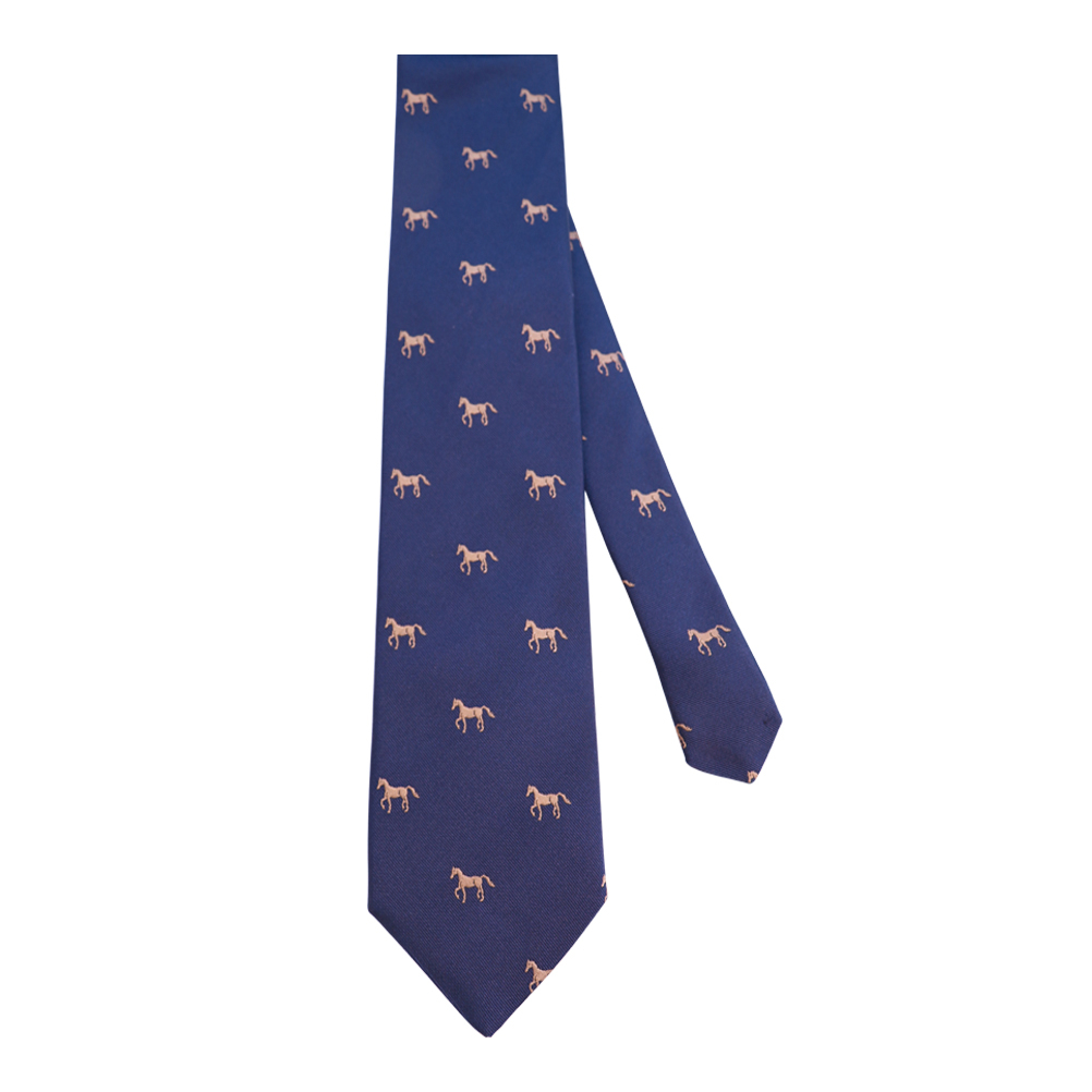 Farasi Self Tipped 3Fold Horse Embroided Tie - Navy MoMAA