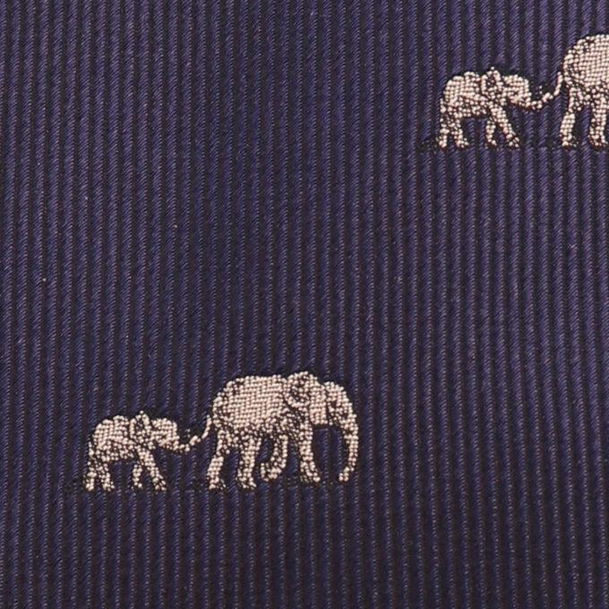 Tembo 3Fold elephant Woven Tie – Navy details