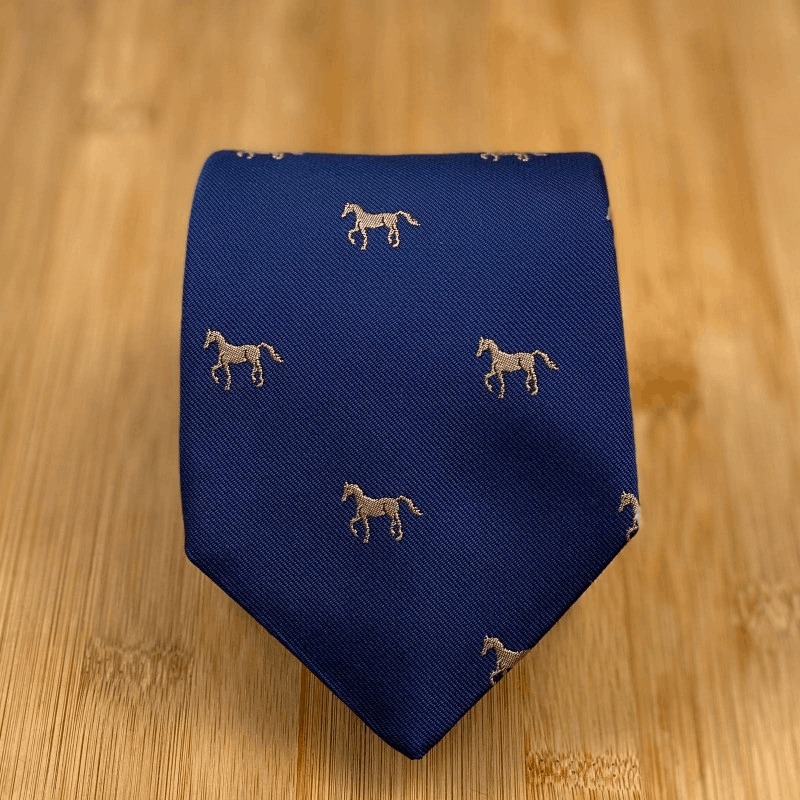 Farasi Self Tipped 3Fold Horse Embroided Tie - Navy