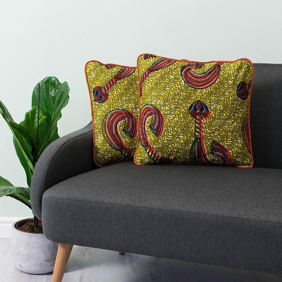 Pillow Cover African Print - Gold and Orange Whip