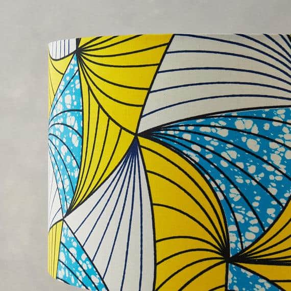 Lampshade African Wax Print - Blue and Yellow Fan