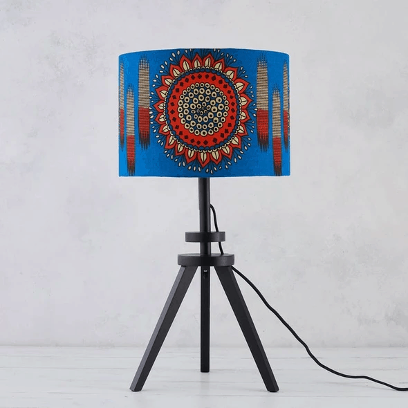 African Wax Print Lampshade - Blue orange circle