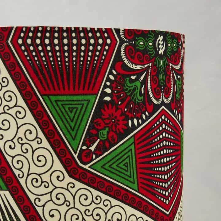African Wax Print Lampshade - Red and Green Hexagon