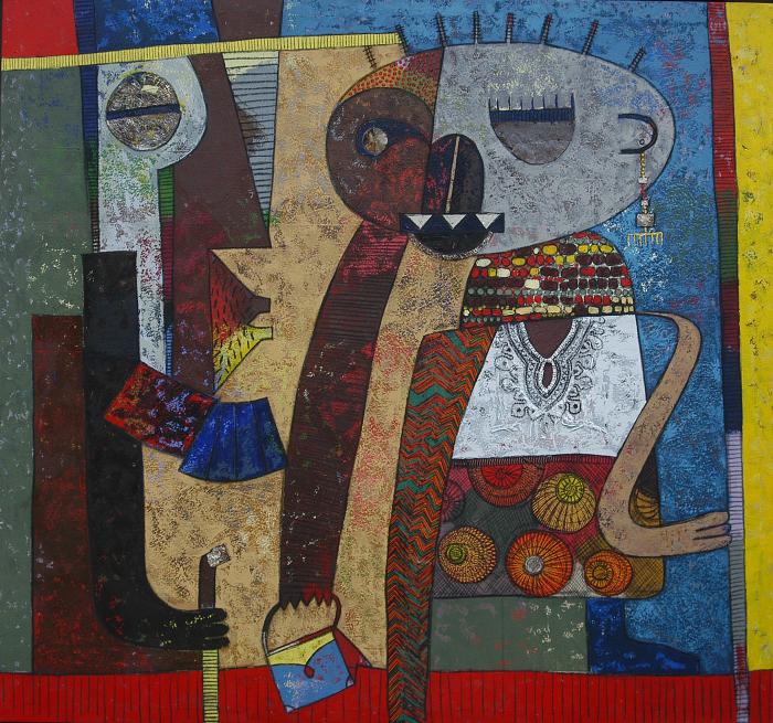Chilyapo Lwando -Perfect Couple II African contemporary Artist MoMAA